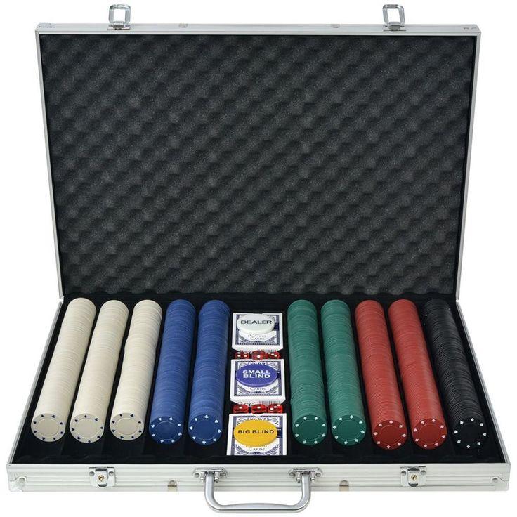 Aluminium Poker Set Casino Playing 1000 Pieces Chips Dice Deck Cards Case Laser #AluminiumPokerSet