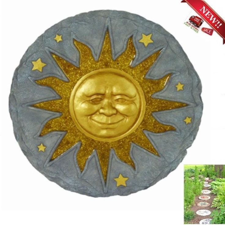 Stepping Stone Sun Face Garden Plaque Walkway Outdoor Indoor Wall Decor Yard Gif #Spoontiques
