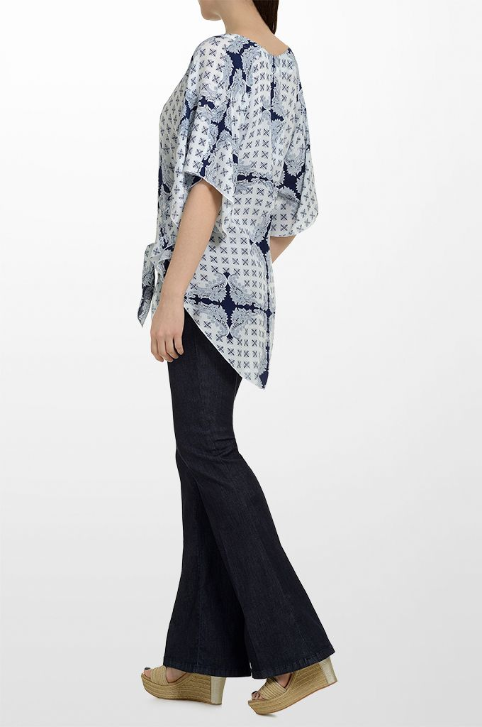 Sarah Lawrence - bat sleeve printed tunic, flare denim pant.