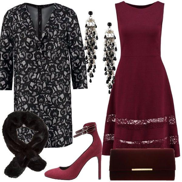 Outfit perfetto per una cerimonia invernale, vestito rosso con due strisce di pizzo tono su tono. Soprabito bianco e nero con stampa simil pizzo, come accessori uno scaldacollo in finta pelliccia nero, una pochette bordeaux come il vestito décolleté con doppio cinturino alla caviglia. Infine lunghi orecchini pendenti bianchi e neri.