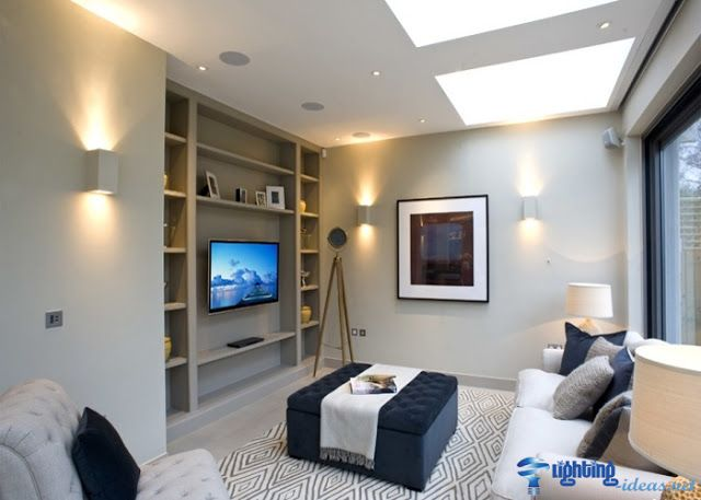 Gray Living Room With Decorative Aluminum Wall Lights