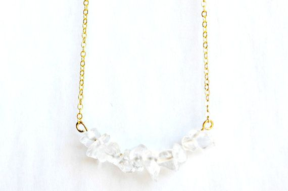 Clear Quartz Necklace Cluster Crystal Pendant Gold by IndigoLizard