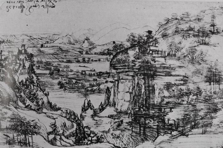 Veduta della Valdinievole e del Padule di Fucecchio disegnata da Leonardo Da Vinci e datata 5 agosto 1473. Il disegno è conservato agli Uffizi.