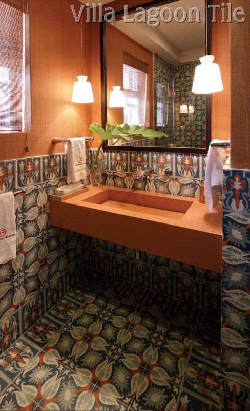 Cuban tile in stylish half bath raises the decor cool factor several notches. See all our cement tile patterns--Villa Lagoon Tile