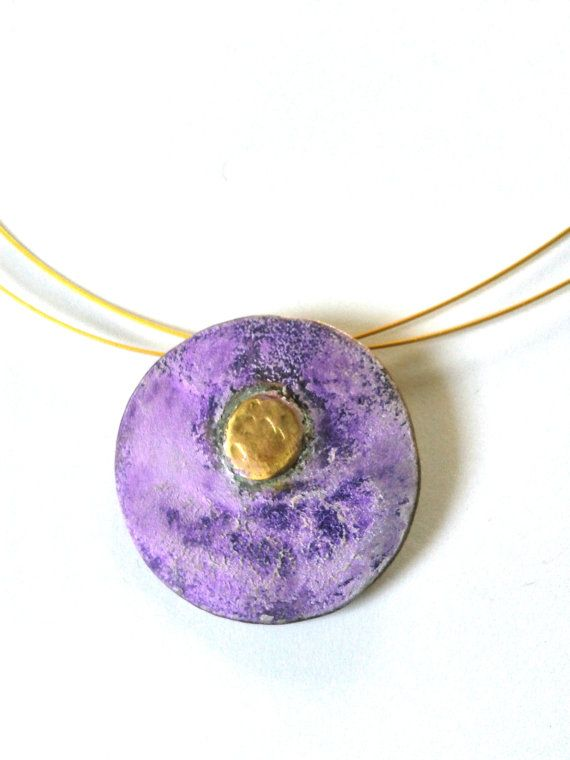 Handmade statement alpaca and brass pendant in purple patina