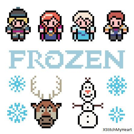 Frozen Disney  PDF Pattern by XStitchMyHeart: Melting Beads, Frozen Cross Stitch, Frozen Patterns, Perler Beads, Frozen Perler Bead Patterns, Cross Stitch Patterns, Cross Stitches