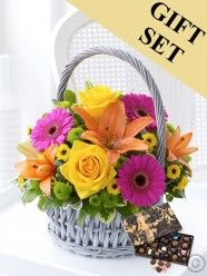 Vibrant Basket Arrangement & Large Chocolates