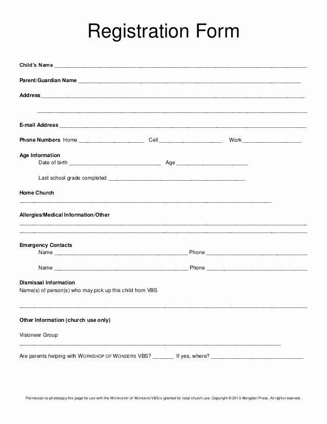 Camp Registration Form Template Word Beautiful Registration Form