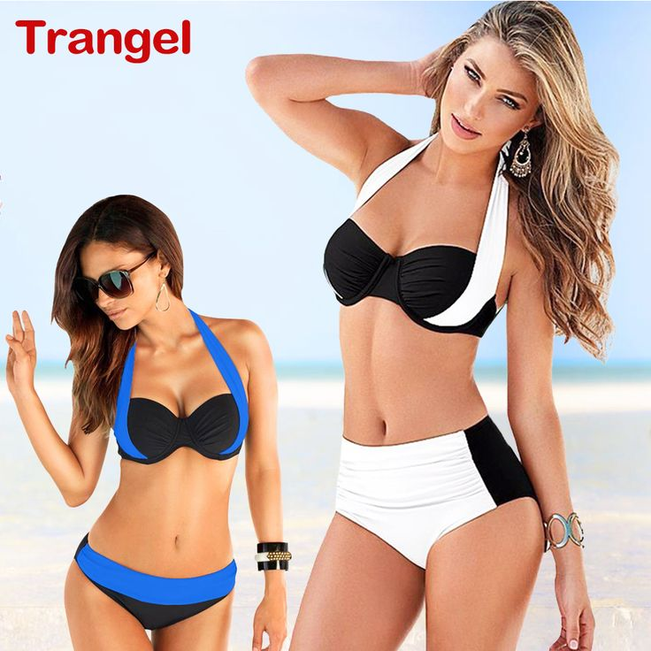 TRANGEL Summer Style 2016 Halter patchwork Women Bikini Beach cover High Waist Swimsuit sexy Swimwear Bathing Suits Plus Size * Clicking on the image will lead you to find similar product