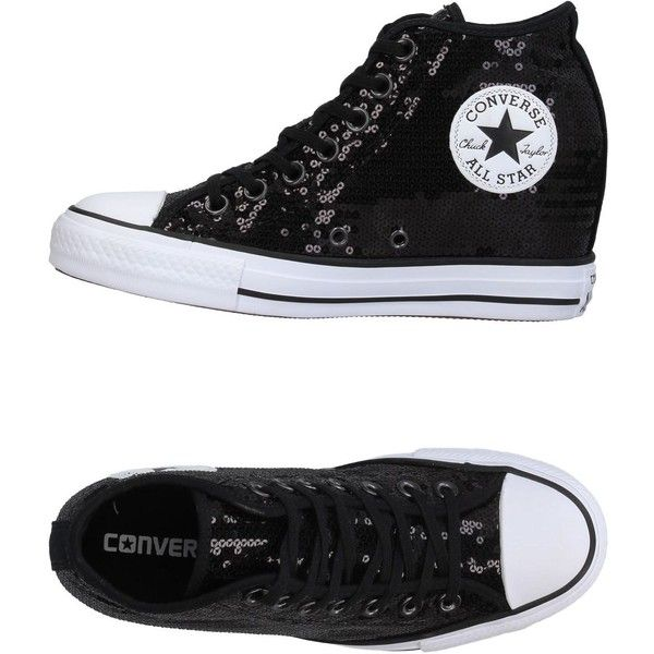 Converse All Star Sneakers ($114) ❤ liked on Polyvore featuring shoes, sneakers, black, sequined shoes, black wedge shoes, wedge heel sneakers, black shoes and black sequin sneakers