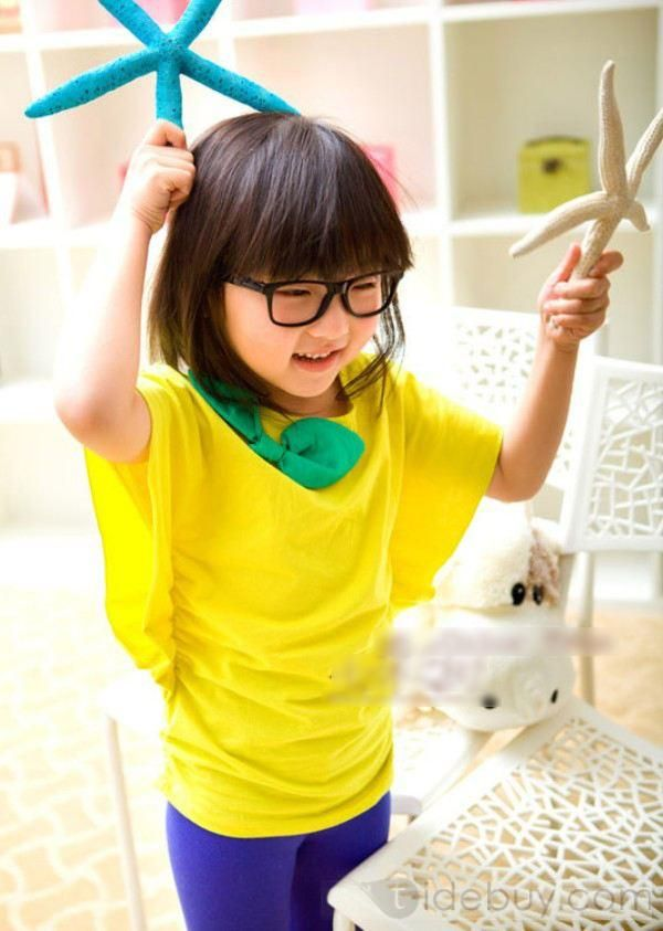 Korea Style Chic Girl Short Sleeves New Arrival Pure Cotton Summer Vest Kid's T-Shirt : Tidebuy.com