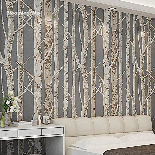 Blooming Wall 60033 Birch Tree Wallpaper Wall Mural Wall Paper Wallcoverings, 20.8 In*32.8 Ft=57 Sq Ft/Roll,Dark Cofee/Brown