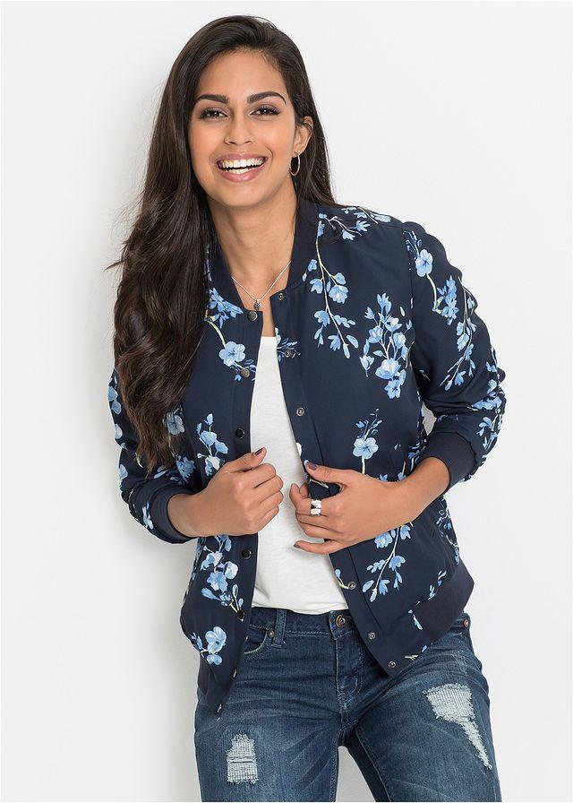 Kurtka Bejsbolowka Ciemnoniebiesko Jasnoniebieski W Kwiaty Bonprix Jackets Fashion Clothes