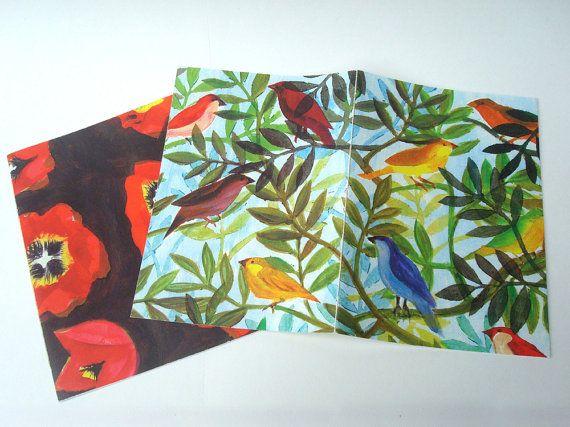 Set van twee blanco A5 schriften met #tulp en #vogel dessin #PapierRivier @Etsy #schrift #A5schrift #papier #handgemaakt #TulpVogelSchriften