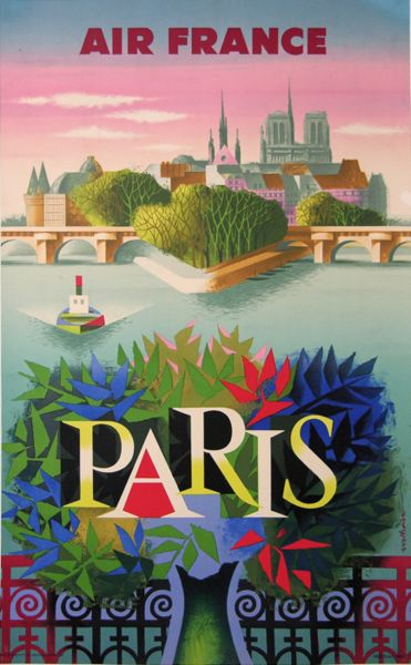 AFFICHE ANCIENNE AIR FRANCE PARIS  (vers 1959)