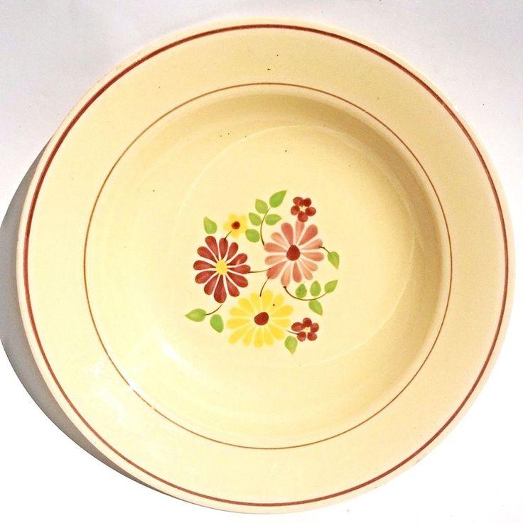 Assiette Creuse Fleur Badonvillers Plate Suppenteller Blumen Cream Country