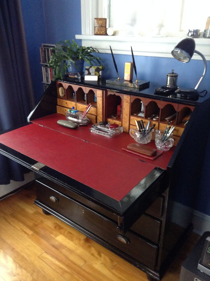 My great grandmother's pigeon-hole desk reno:  high gloss black enamel, red pigskin writing surface, gold and brass furniture... Feb 2016