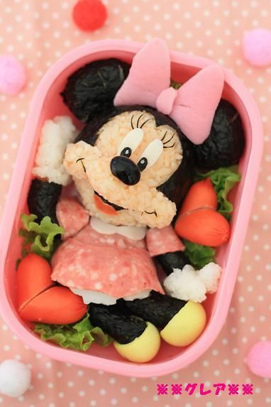 Minnie Mouse bento lunch box #food #bento #disney #minnie #minniemouse