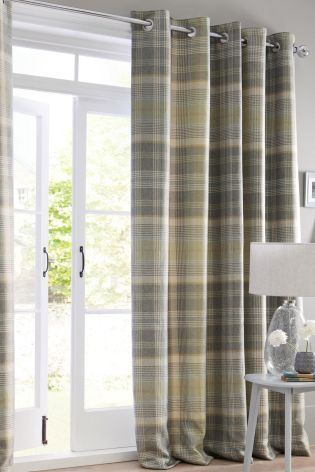 Buy Green Woven Check Milton Eyelet Curtains from the Next UK online shop