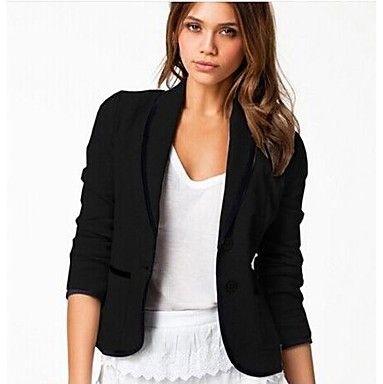Women's+Black+Blazer+,+Casual/Work/Plus+Sizes+Long+Sleeve+–+USD+$+12.99