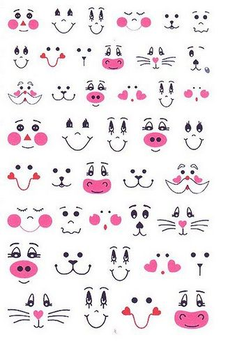 Patterns for cute animal faces...  Cute to draw on Easter Eggs!