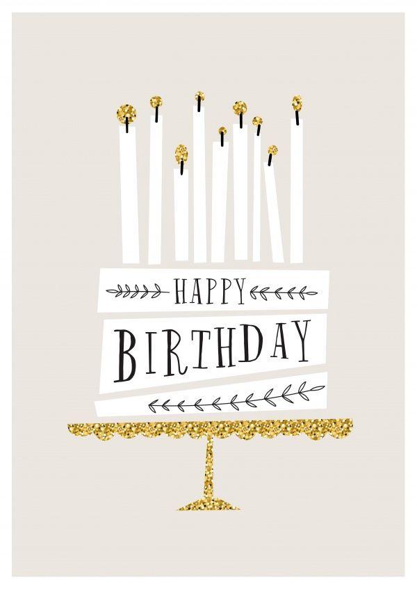 Golden serviert | Happy Birthday | Echte Postkarten online versenden | MyPostcard.com