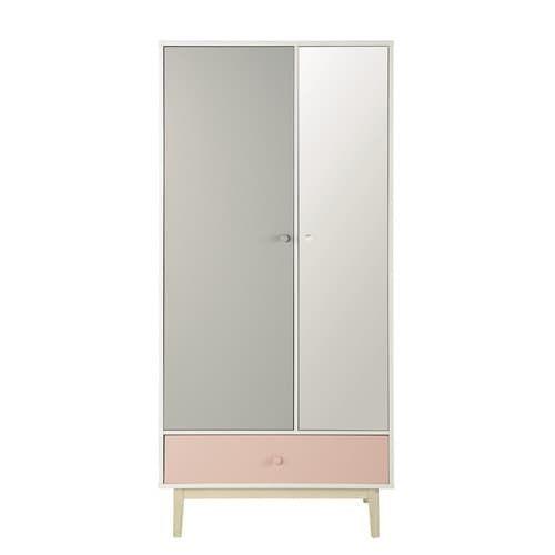 Witte houten dressingkast met spiegel B 90 cm