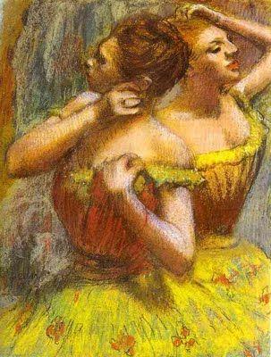 Ballerinas in Yellow by Edgar Degas: (French, Post-Impressionism, 1834–1917)  http://poulwebb.blogspot.com/2011/09/edgar-degas-part-2.html