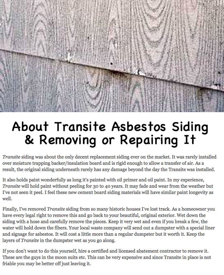 About Old House Asbestos Transite Siding And How To