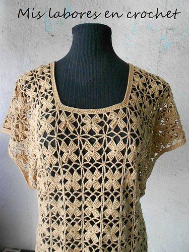 Mis labores en Crochet: Blusa de flores sin cortar hilo!!!