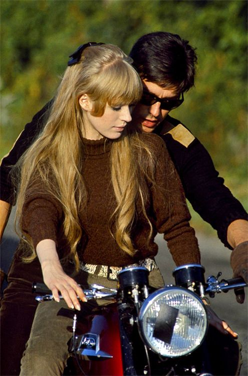 Marianne Faithfull and Alain Delon on set of 'The Girl On A Motorcycle', 1968. Photo by John Kelly.