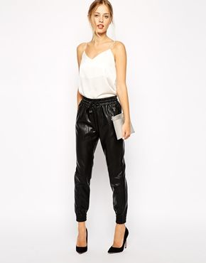 It seems like every editor in the office is wearing black leather joggers these days, so it feels like time to get my own! (Or at least a faux version.)