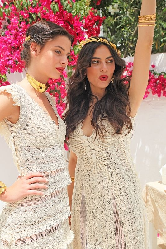 Hellenic Vintage collection. Mod Halkyone and Mod Ephimia made of cotton lace with impeccable craftsmanship and unique handmade detailed embroidery.Gold neckless.