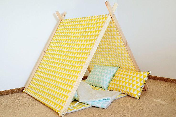 Namiot Domek Tipi dla dzieci Lucky Kids żółte trójkąty | 440,00zł