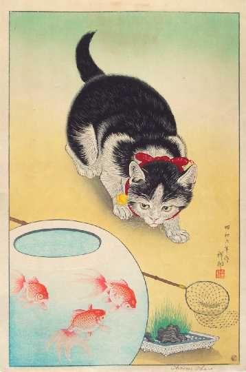 """Cat and Three Goldfish"", Koson (Shoson OHARA) (1877-1945)"