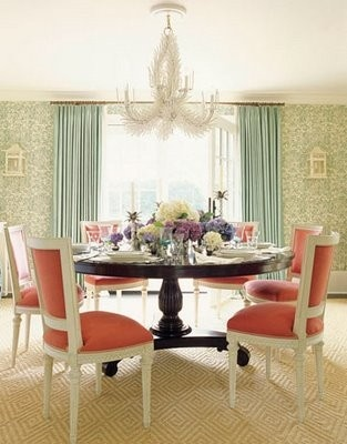 Ashley Whittaker Dining Room  Coral And Aqua, Round Table, Carved Chairs,  Chandelier