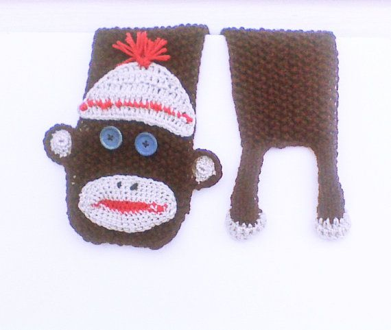Blue eye sock monkey scarf sock monkey for sale by HandmadeTrend, $30.00