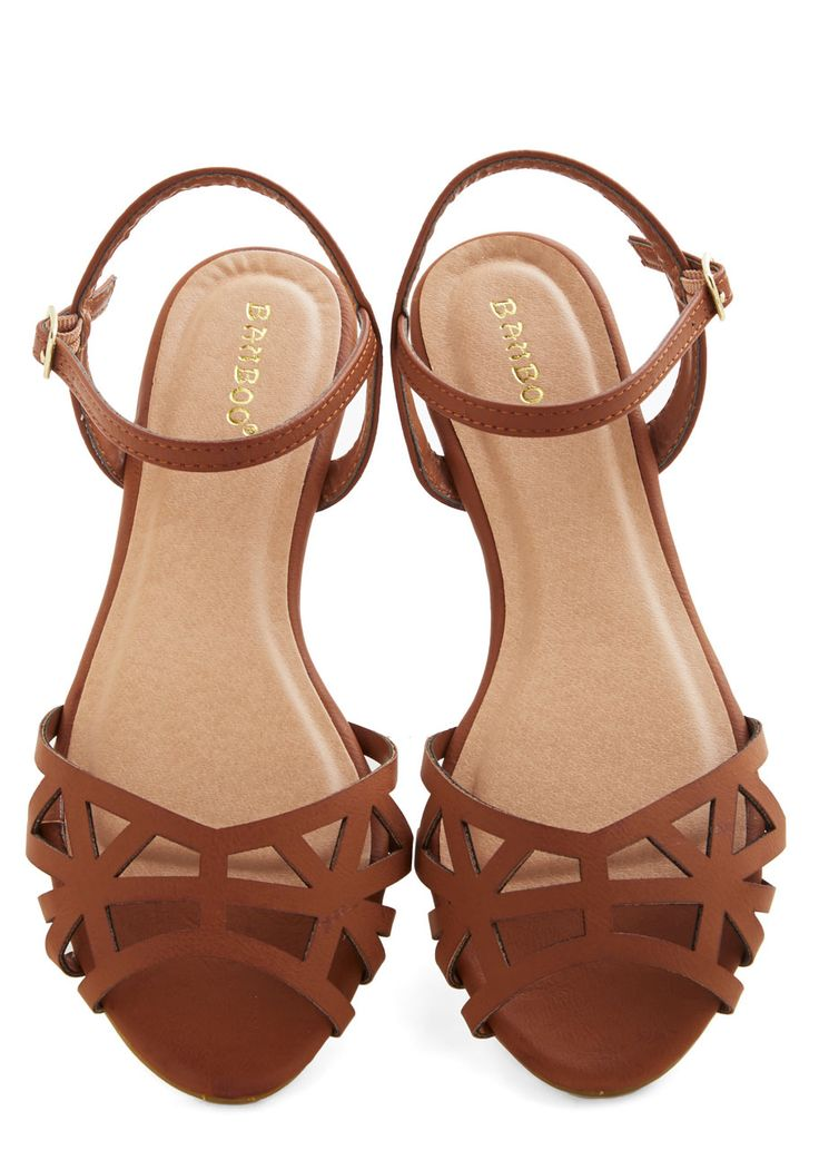 Favorite Delicatessen Sandal in Cognac. For todays picnic, you swing by your fave deli in these strappy brown sandals to get some outdoor-dining essentials. #tan #modcloth