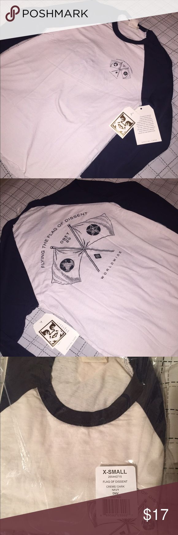 """Obey women's baseball tee Obey Women's """"Flag of Dissent"""" baseball tee. Brand new with tags. Size: XS Obey Tops Tees - Long Sleeve"""