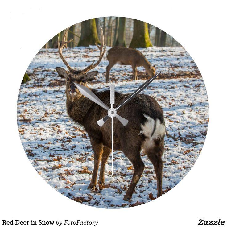 Red Deer in Snow Large Clock