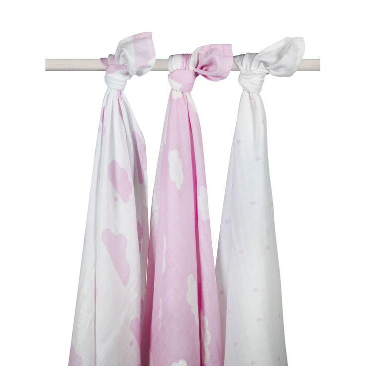 Jollein Duży otulacz 115cm x 115cm różowe niebo 3 sztuki