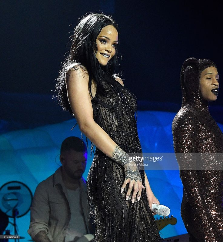 Rihanna performs during her 'Anti World Tour' at Barclays Center of Brooklyn on March 27, 2016 in New York City.