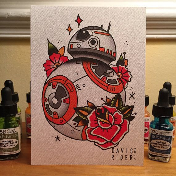 BB8 Tattoo Flash Print by DavisRiderPrints on Etsy