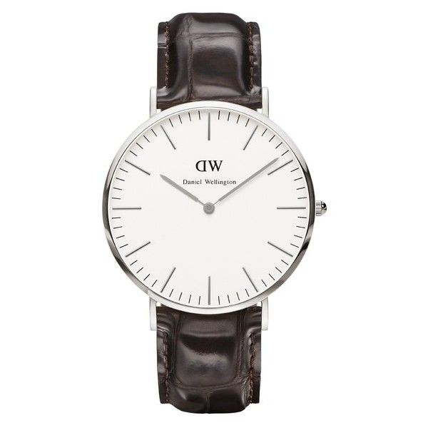 Daniel Wellington Classic York 36mm Silver Watch - Croc Brown (260 CAD) ❤ liked on Polyvore featuring men's fashion, men's jewelry, men's watches, mens brown leather strap watches, mens brown leather watches, mens leather strap watches, mens silver watches and engraved mens watches