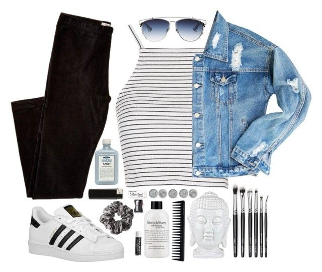 . by valerieb76 on Polyvore featuring polyvore fashion style Topshop adidas Originals philosophy John Allan's GHD Monkey Business Chapstick clothing