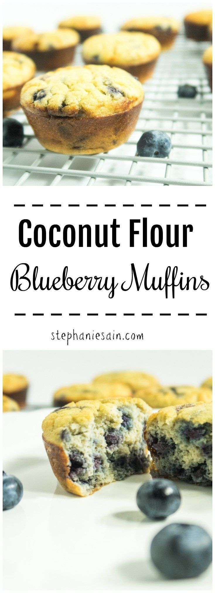 Coconut Flour Blueberry Muffins are deliciously moist, bursting with fresh blueberry flavor and naturally sweetened. Gluten Free, Vegetarian, and no refined sugars.