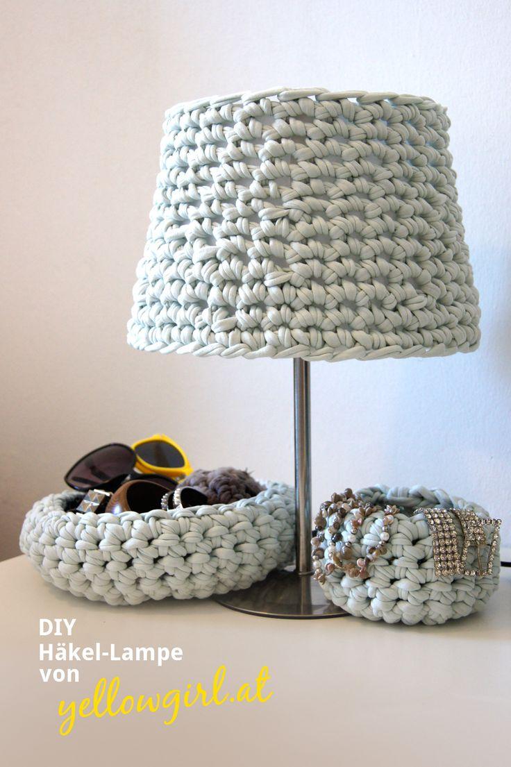 DIY Häkel-Lampe Redesign - Crochet lampshade: single crochet T-shirt yarn in rounds