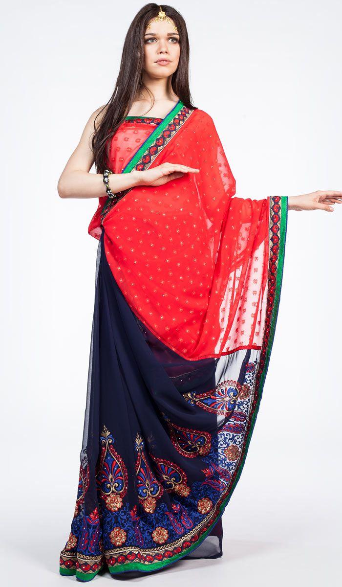 Индийское сари Радхарани, красное сари из Индии, Indian sari, saree, red sari India. 14 200 рублей