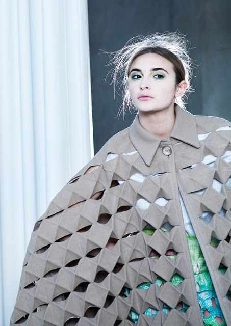 Fashion as Art - oversized cloak with folded construction & repeating 3D pattern structure; experimental fashion design // Alexandra Verschueren