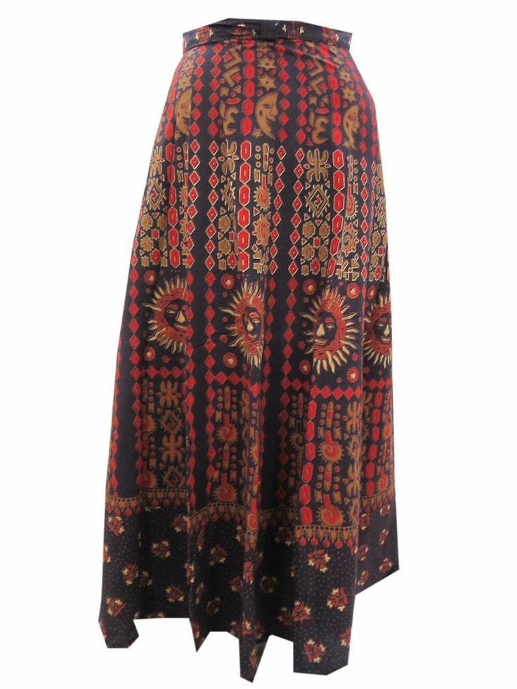 Ethnic Jaipuri Printed Wrap Skirt Red Long Cotton Skirts
